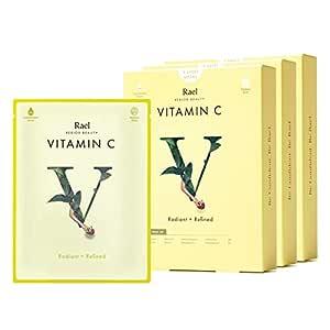 Rael Bamboo Face Sheet Mask - Natural Facial Mask with Vitamin C, All Skin Types, Vegan and Botanical Ingredients (Vitamin C, 15 Sheets)