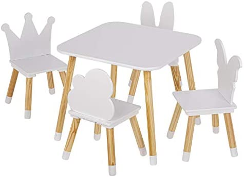 UTEX Kids Table With 4 Chairs Set, Kid Table And Chairs Set For Girls, Toddlers, Boys, 5 Piece Kiddy Table And Chair Set, White