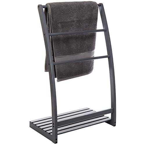 MyGift Freestanding 33-Inch Vintage Gray Towel Stand with Shelf