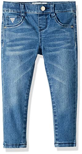 Kids Guess Girls Denim - GUESS Girls' Little 5 Pocket Skinny Jean, Medium Sky Denim wash, 3