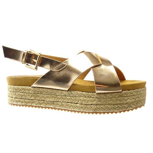Angkorly - damen Schuhe Sandalen Espadrilles - Plateauschuhe - String Tanga - Schleife Keilabsatz high heel 5 CM - Champagner