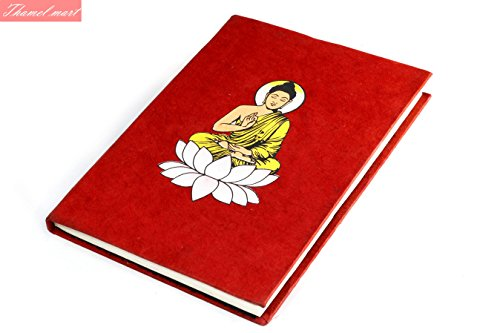 - Nepali Notebook of Handmade Lokta Paper with Lord Buddha printed on cover. Made in Nepal. (21 x 15.5 cm) (NB13)