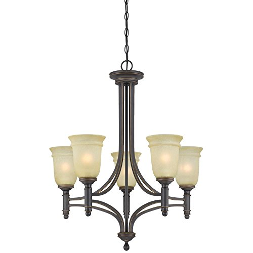 Mocha Bronze Finish Chandeliers - Westinghouse 6342900 Montrose Five-Light Indoor Chandelier, Oil Rubbed Bronze Finish with Highlights with Mocha Scavo Glass