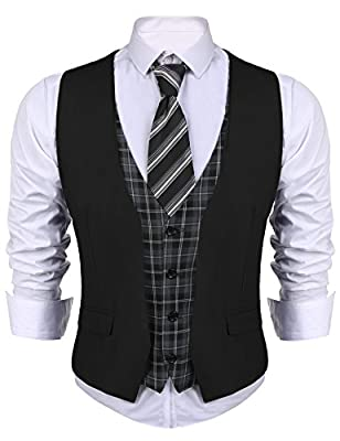 COOFANDY Men's Dress Suit layered Vest V Neck Plaid Patchwork Wedding Waistcoat