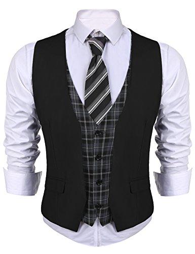 JINIDU Mens Business Suit Vest V Neck Skinny Layered Plaid Dress Wedding Waistcoat Vest Black