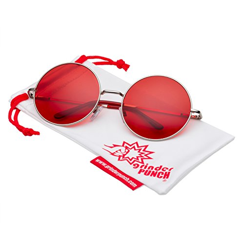grinderPUNCH Oversized Large Round Sunglasses for Women Color Lens - Red Colour Sunglasses