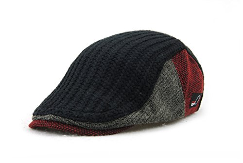 [YCHY Men's Knitted Wool duckbill Hat Warm Newsboy Flat Scally Cap (Black)] (Paper Boy Hat)