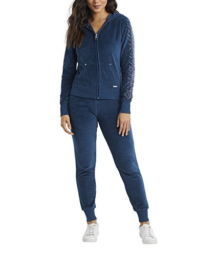 Trim Velour Hoodie Jacket (LIPSY Womens Faux Fur Foil Velour Hoody Blue US 12 (UK 16))