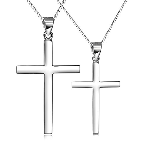 LUHE Couple Jewelry Set Sterling Silver Cross Necklace Simple Polished Religious Holy Love Cross Pendant for Men Women, 18