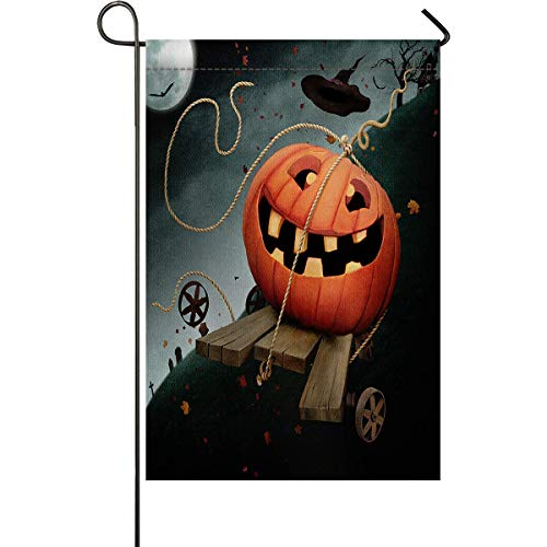 zhurunshangmaoGYS Halloween Garden Flag House Banner Decorative Flag Home Outdoor Valentine, Creepy Alone Halloween Pumpkin Mystic Theme at Night Yard Flag 12 x 18inch