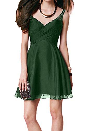 Kurz Festkleid Partykleid Rueckenfrei Promkleid Abendkleid Ausschnitt Perlen Ivydressing Zaertlich V Damen Dunkelgruen YwqOz7O