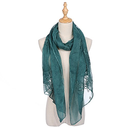 Womens Chiffon Embroidery Bandanna Long Scarf Lightweight Wrap Shawl Beach Cover Solid Color Scarves