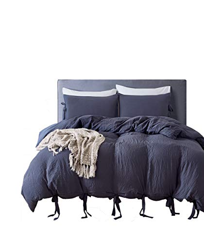 M&Meagle Duvet Cover Navy,Solid Color Bowknot Design,100% Washed Cotton-Queen Size(3Pcs,1 Duvet Cover 2 Pillowcases)