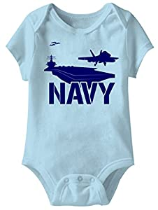A&E Designs US Navy Funny Romper Infant Light Blue Baby Creeper