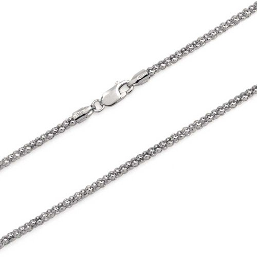 (Bali Style Popcorn Coreana Chain Necklace Black Oxidized 925 Sterling Silver 030 Gauge Made In Italy 24)