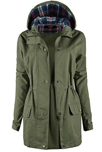 TL Women's Versatile Militray Anorak Parka Hoodie jackets with Drawstring 057_OLIVE 2XL