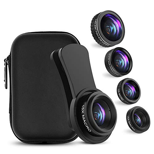 Cell Phone Camera Lens, UMTELE iPhone Lens Kit, 0.4X Wide Angle Lens & 12X Macro Lens + 235° Fisheye Lens & 15X Macro Lens for iPhone X/8/7/6/5/7 Plus/6 Plus and Most Android Phones by UMTELE