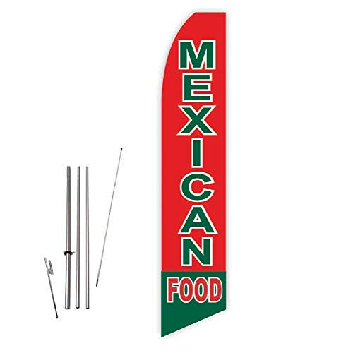 (Mexican Food (Red/Green) Super Novo Feather Flag - Complete with 15ft Pole Set and Ground Spike)
