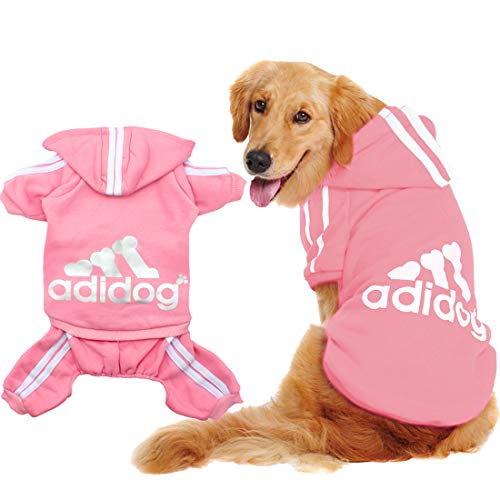 (Scheppend Original Adidog Big Dog Large Clothes Sport Hoodies Sweatshirt Pet Winter Coat Retriever Outfits, Pink 8XL)