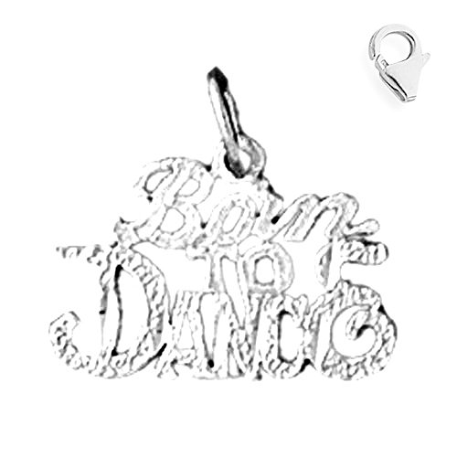 - Jewels Obsession Saying Charm | 14K White Gold Born To Dance Saying Charm Pendant - 15mm