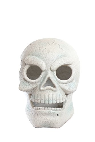 Alpine Corporation SOT784L Halloween Skull with LED Lights and Motion Sensor Festive Harvest Decoration for Porch, Garden, Home, 17-Inch Tall, White
