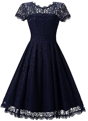 Womens Vintage Formal Dresses for Women Wedding Party Cocktail Swing Dress DS010 Navy X-Large
