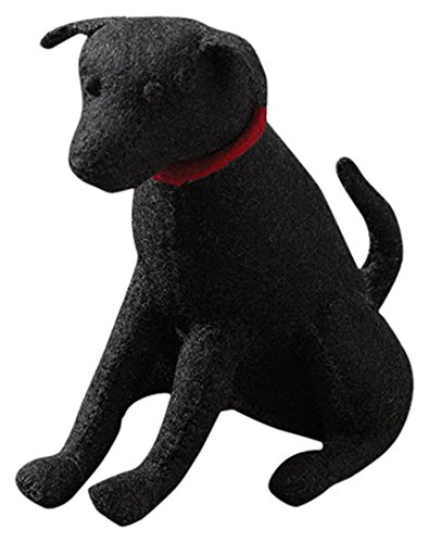 ARCADIA HOME Black Lab Door Stop in Hand Felted Wool