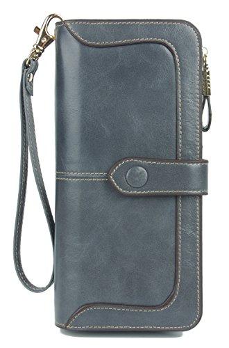 Anvesino Women's RFID Blocking Large Capacity Leather Clutch Wallet Zipper Purse Ladies Credit Card Holder Organizer(Blue-Gray)