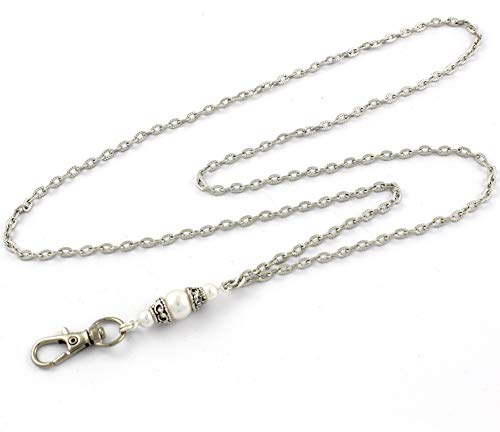 Brenda Elaine Jewelry | Real Silver Plate | Women's Fashion Lanyard Necklace for ID Badge Holders | 32 Inch Silver Textured Chain with White Pearl Pendant & No Rear Clasp