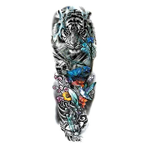 Large Arm Sleeve Tattoo Sketch Lion Tiger Waterproof Temporary Tattoo Sticker Wild Animal Men Bird Totem Tattoo,A21