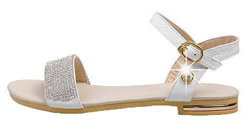 WeiPoot Solid PU Buckle Heels Open Toe White Sandals Women's Low r04qpr