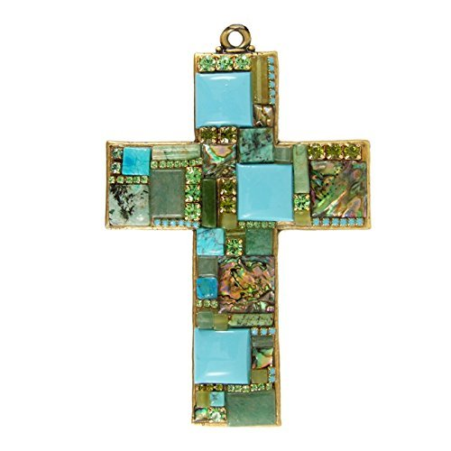 Turquoise, Jade, Abalone Gemstone Mosaic Wall Cross. Handcrafted and American Made. Religious Decorative Wall Plaque.