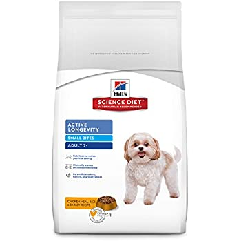 Hill's Science Diet Adult 7+ Active Longevity Small Bites Chicken Meal Rice & Barley Recipe Dry Dog Food, 5 lb bag