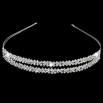 Gleader Cerchietto placcato d argento con 2 righe strass Alice accessori per  capelli fascia dei 43636b30fe16