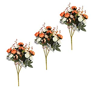 Prettyia 3 Pieces Big Size Artificial Plants Indoor Rose Flower Leaf Home Wedding Party Decor New Year Gifts 75