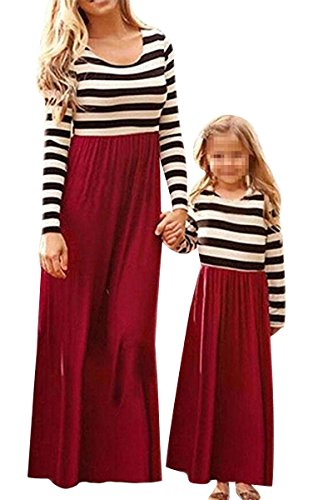 Mommy Sleeve Print Tank Long Matching and Dress Clothes red Striped Stripe You Family Me Dresses Matching Bai Maxi Mei Casual AqEp4xw1p