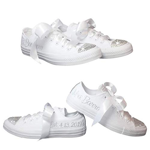 b63fb1b8d87b Amazon.com  Personalized Wedding Shoes with Swarovski Crystals Custom for  Brides