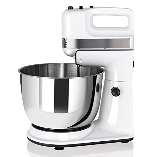 250W 5-Speed Stand Mixer w/Dough Hooks Beaters and Stainless