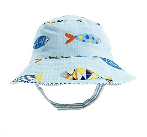 - DANMY Baby Boy Baseball Cap Striped Sunhat Girl Brim Sun Protection Bow Hat (Bucket hat2 (Blue))