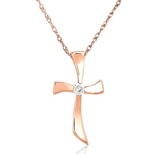 Diamant Pendentif Croix en or 14K (45,7cm Chaîne)