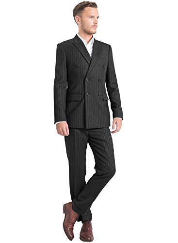 iTailor Men's 6-Button Double Breasted Pinstripe Suit Charcoal Grey 60 Long Charcoal Pinstripe Wool Suit