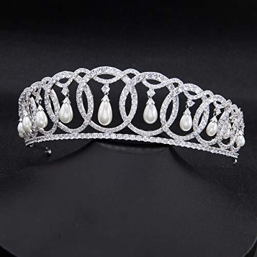 SepBridals Classic Cubic Zirconia CZ Pearls Wedding Bridal Tiara Crown Diadem Women Hair Accessories CH10223 by SEPBRIDALS (Image #5)