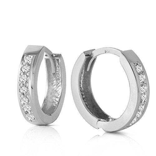 14K Solid White Gold Hoop Huggie Earrings with Diamonds