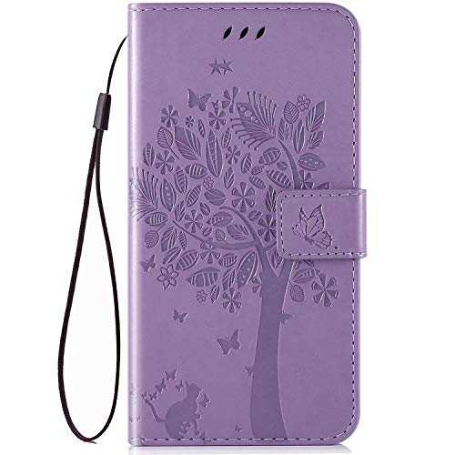 IKASEFU Compatible with MOTO G7 Power Case Emboss Pu Leather Wallet Strap Case Card Slots Shockproof Magnetic Kickstand Feature Slim Fit Folio Flip Book Cover Protective Bumper Case,Light Purple