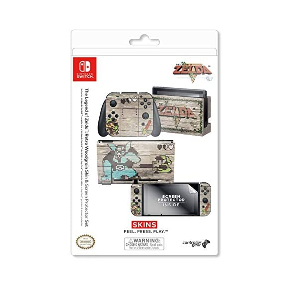 Controller Gear Officially Licensed Nintendo Switch Skin & Screen Protector Set - The Legend of Zelda - Retro Woodgrain… 9
