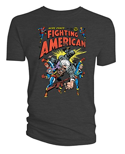 Simon & Kirby Mens T-Shirt Here Comes Fighting American! Charcoal XL ()