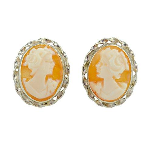- Italian Carnelian Shell Cameo Earrings 12 mm - Genuine Shell Cameos