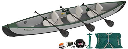 Sea Eagle TC16 Inflatable Travel Canoe 3 Person Electric Pump Package