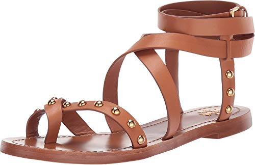 Tory Burch Women's Ravello Tan Leather Studded Ankle Wrap Sandals Shoes (7.5 M US)