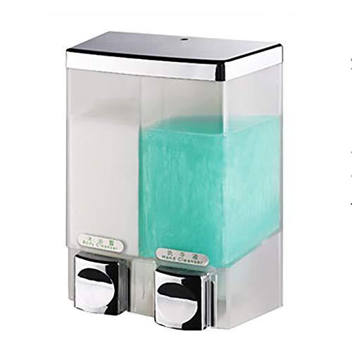 YSXZM Duo Soap Dispenser Wall Mounted Chrome Clear Conditioner Shower Lotion Dispenser Hotel Manual Bathroom Shower Gel Bottlebox